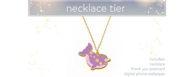 """$25 - Starwhal Necklace! 1.5""""/3.81cm enamel pendant on an 18""""/45.72cm chain. NOT nickel-free, sorry metal-sensitive friends. :("""
