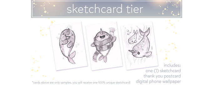 $35. You will receive one (1) unique Starwhal-themed sketchcard based on a one-word prompt you give me.
