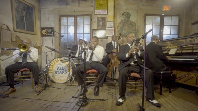 "The Preservation Hall Legacy Band performing Louis Armstrong's ""Melancholy Blues"" in New Orleans at Preservation Hall, May 2017."