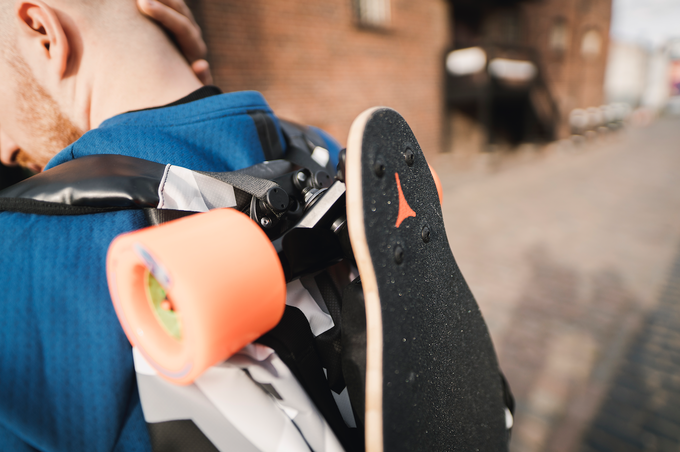deck hook carry any longboard or skateboard on any backpack by