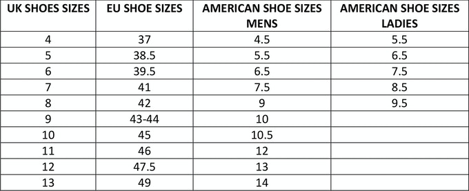 Boot size guide