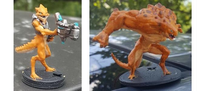 Painted 3D Print of Prototypes of Wata & Baskk