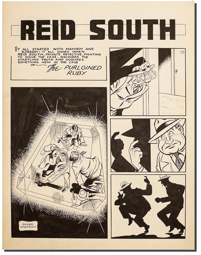 "Aram Alexanian ""Reid South"" original comic art page."