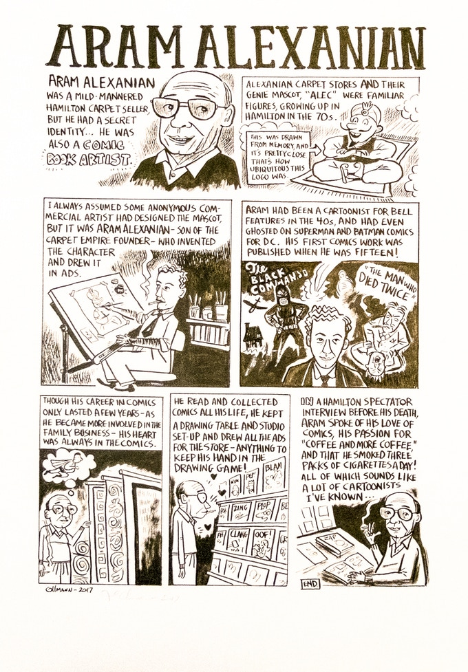 Joe Ollmann capturing the comic book spirit of Aram Alexanian.