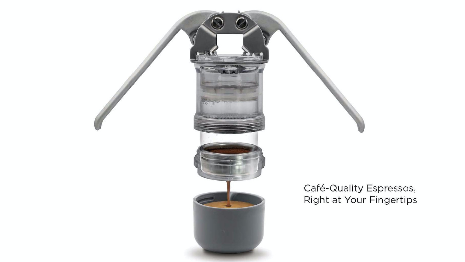 Leverpresso is the first portable lever espresso maker that allows you to make your personal café-quality coffee anywhere.
