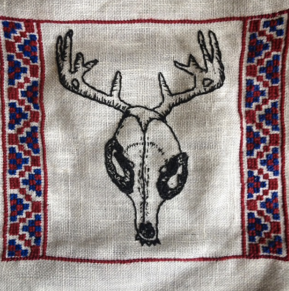 Example of my needlework, aesthetically similar to what you'd receive for the Embroidery reward (Note: the imagery on your piece would be different than this one-- each is unique!)