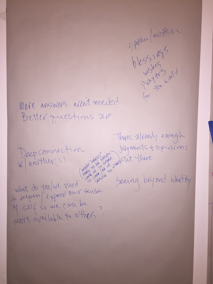 The first scribbles on a friend's living room wall of what For the Love of Humanity might be. Thank you, Rose!