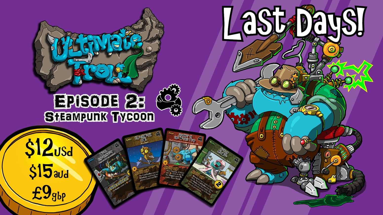 Ultimate Troll is a quick and chaotic card game for 2-4 Trolls looking to
