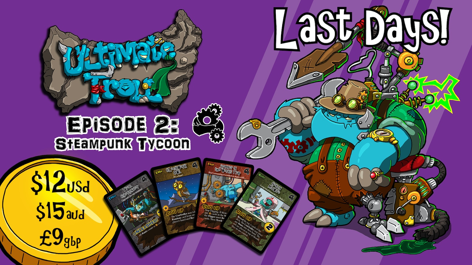 Ultimate Troll is a quick and chaotic card game for 2-4 Trolls looking to ruin someone's day. There's no time for playing nice.
