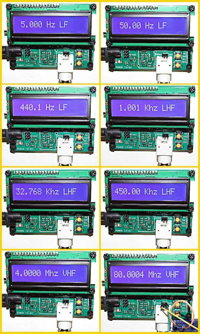 Measuring: 5 Hz, 50 Hz, 440.1 Hz, 1.001 Khz, 32.768 Khz, 450 Khz, 4 Mhz, 80 Mhz.