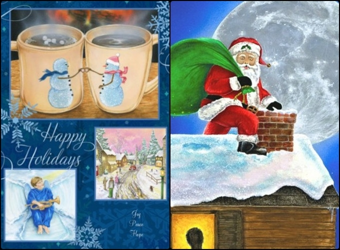 """""""Joy, Peace, Hope"""" + """"Merry and Bright"""" Snowland Holiday Cards for Add-Ons"""