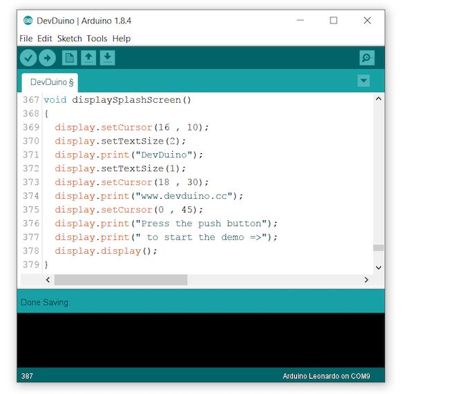 DevDuino code example