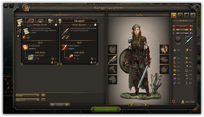 Equipment screen (click to enlarge). Displaying your character's equipment as well as stats.