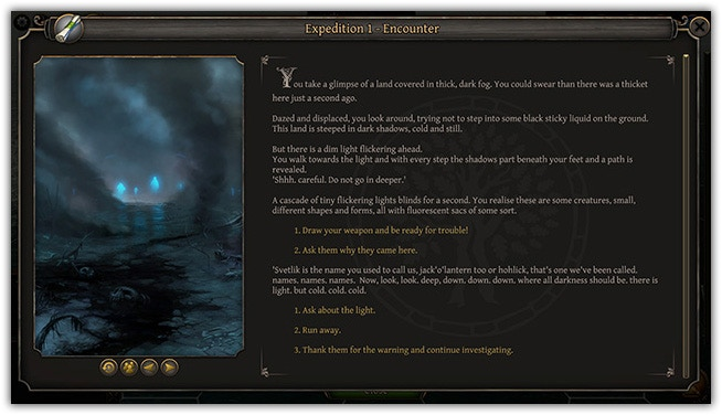 Events screen (click to enlarge). As you discover the lands of Thea, you will face many encounters, happenings or quests that may determine not only your fate, but also that of the world.