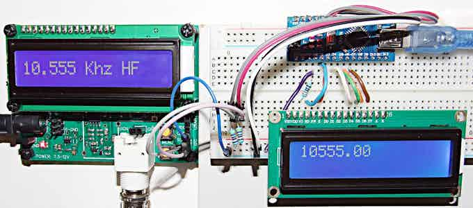 Application example: sharing frequency values between Freq_LF_HF and Arduino Nano over an I2C network