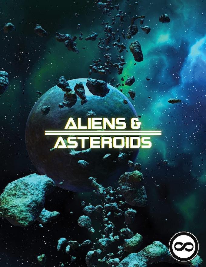 Aliens & Asteroids Cover - Logos by Peter Saga and Robert Denton