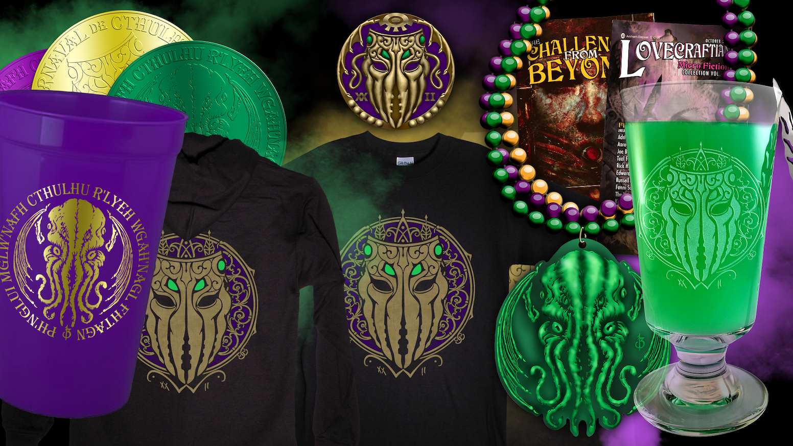 Cthulhu Mardi Gras beads, doubloons, masks, t-shirts, and more, to support the 22nd Annual H. P. Lovecraft Film Festival® Oct 6-8 2017.