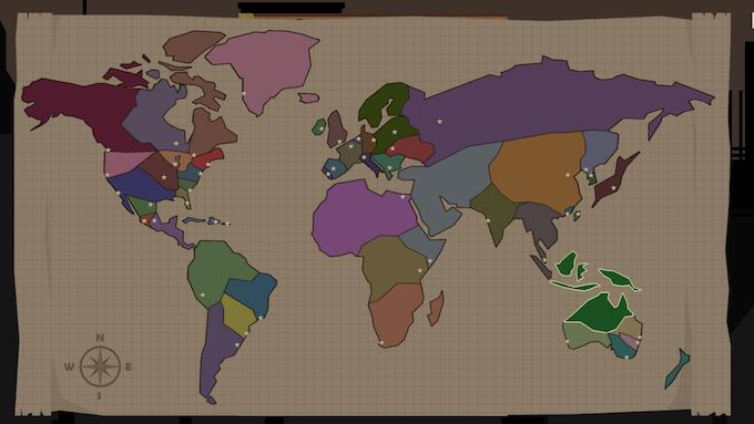 World Map - Stars are cities