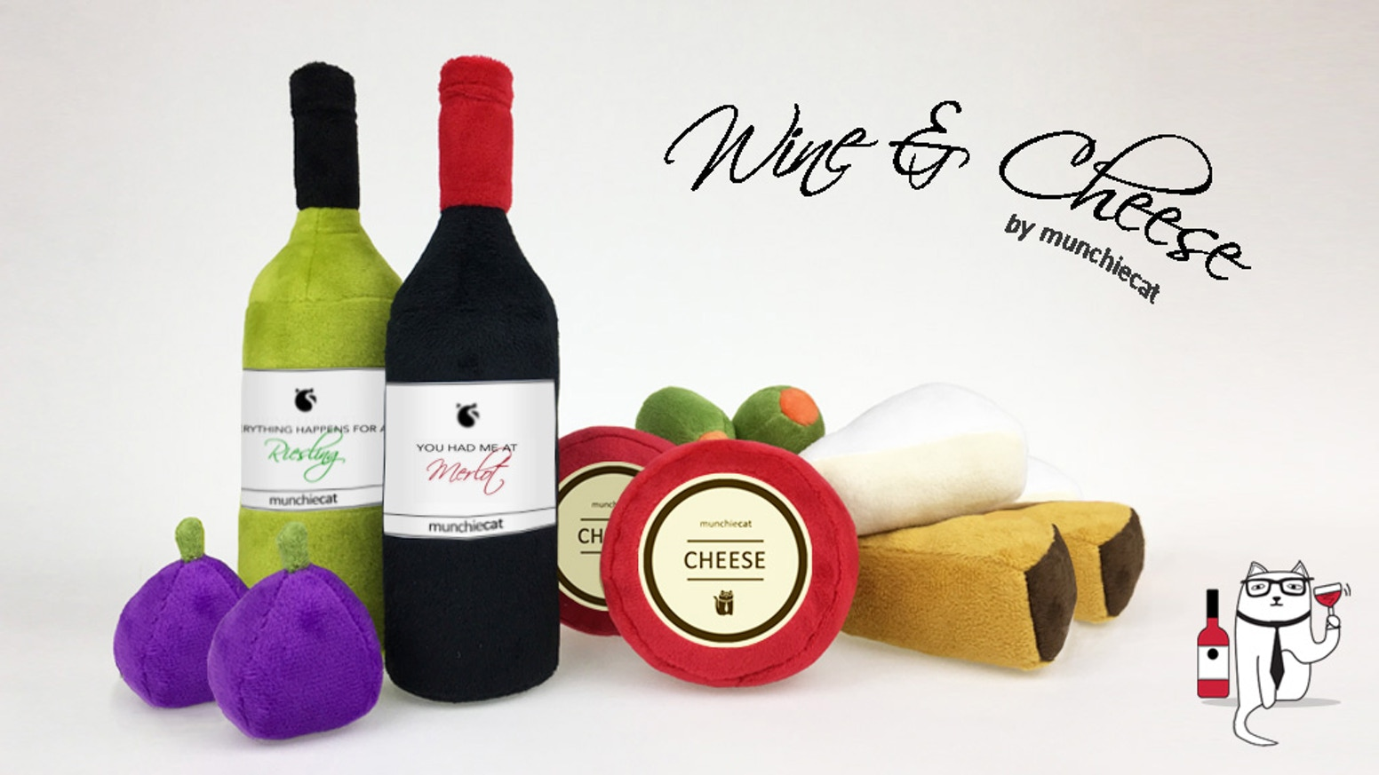 This plush wine & cheese set is infused with potent catnip and includes crinkle toys and bells. See our CAMPAIGN PAGE for more info!