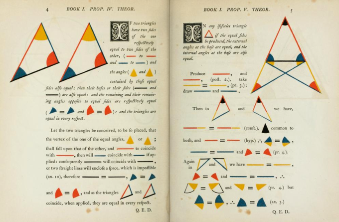 The first six books of the Elements of Euclid, by Oliver Byrne (1847)