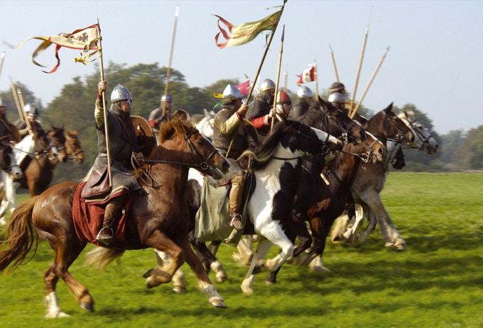 Norman cavalry charges against the enemy!