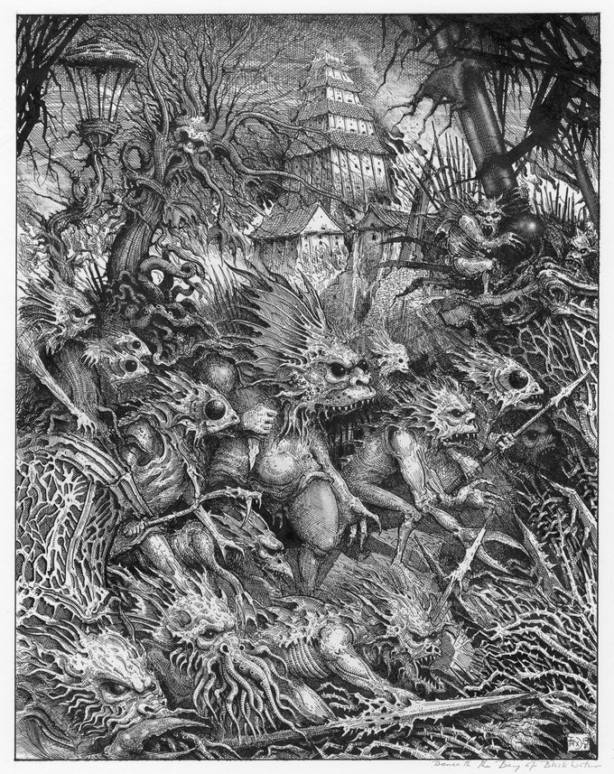 Ian Miller's illustration for Beneath The Bay of Black Waters