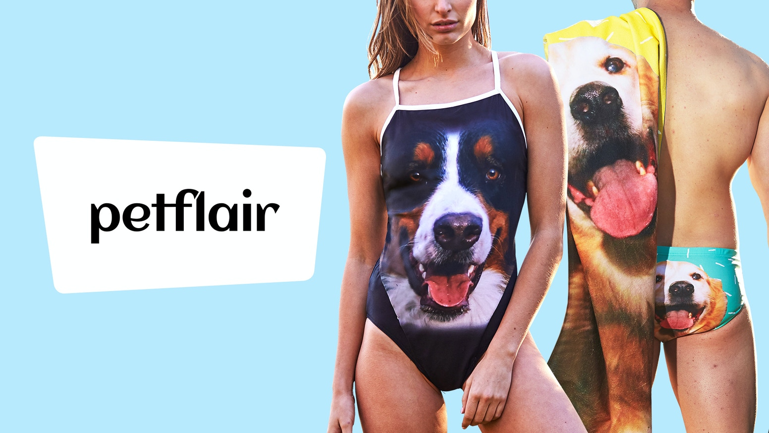 An AMAZING range of custom swimwear, towels and bags uniquely designed for you and your best friend – dog, cat, whatever!