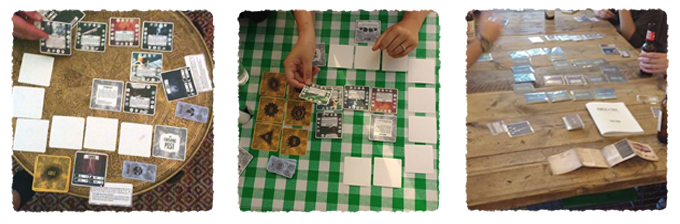 Playtesting (all components pictured are early prototypes, not final)