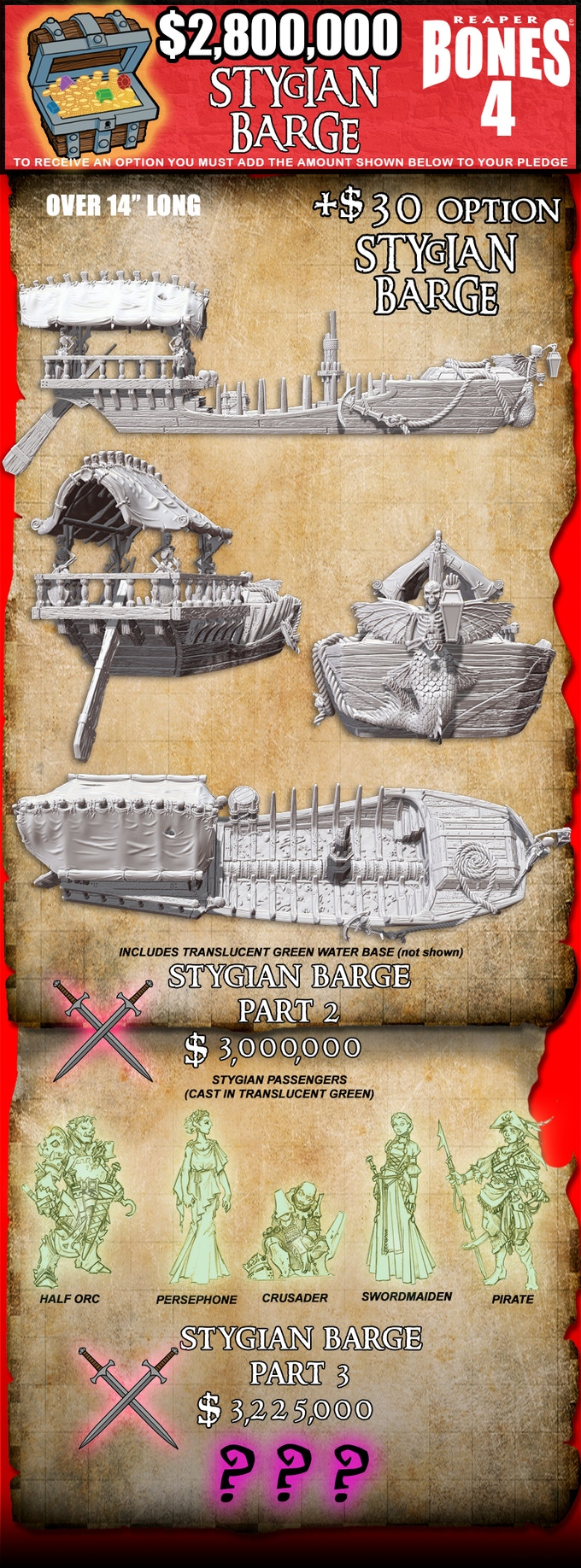 To receive the Stygian Barge, increase your pledge by $30 and select this reward in the Pledge Manager