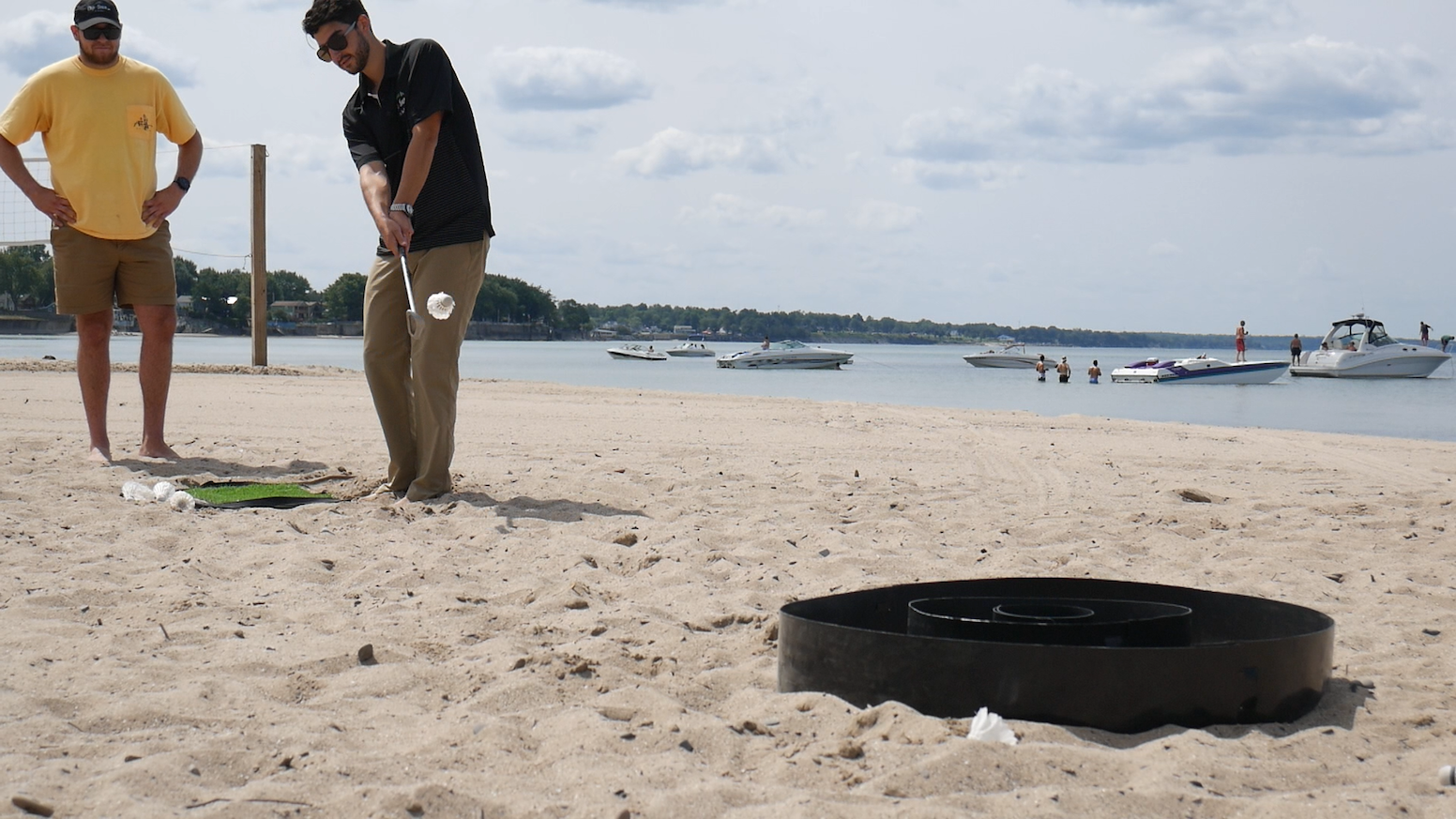 A portable golf-inspired backyard game that anyone can play. Patent Pending.