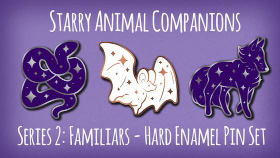 Starry Animal Companions 2: Familiars Hard Enamel Pin Set