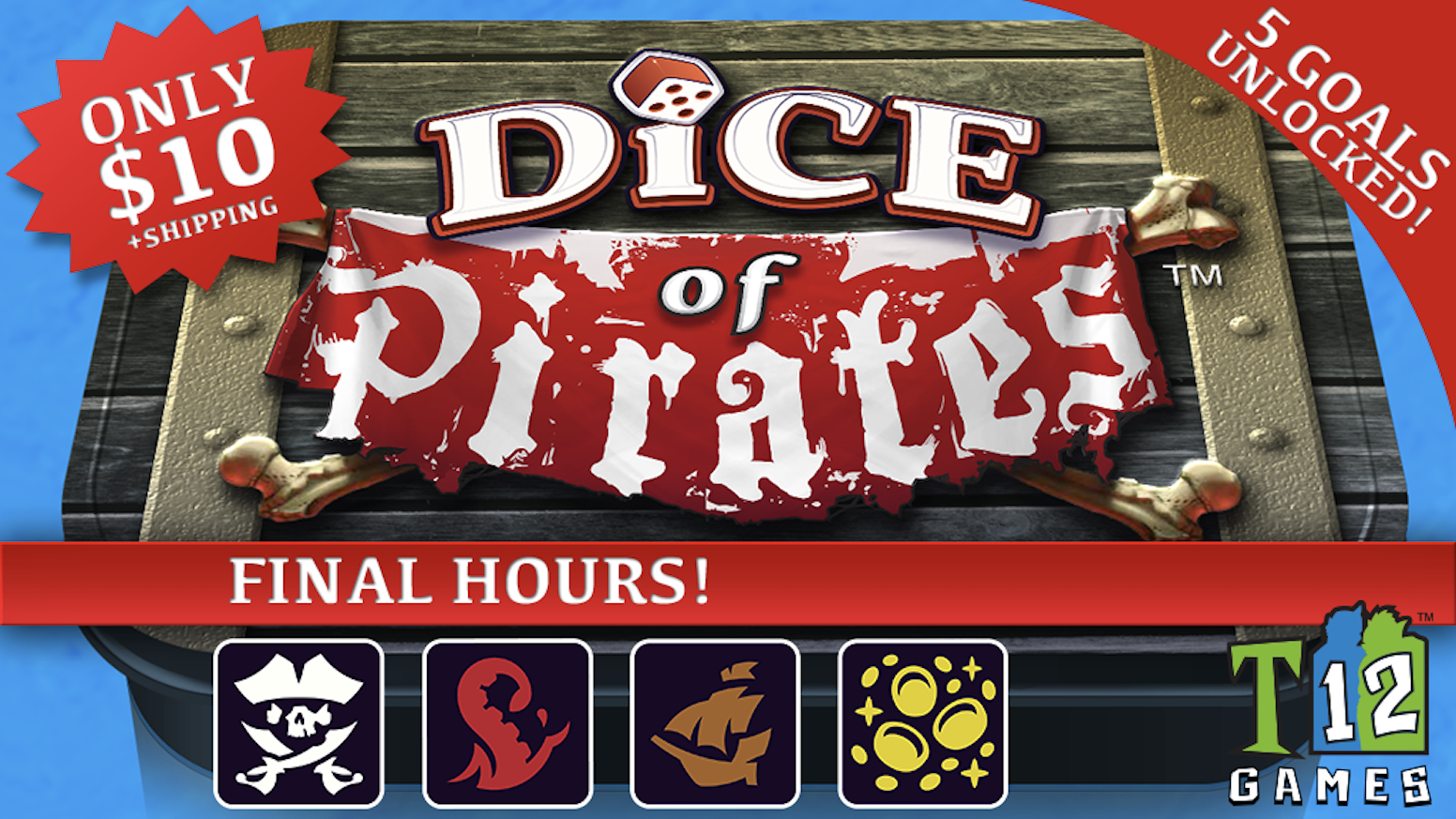 Roll the bones! Fight yer mates! Claim the gold! A fast-paced game of piracy for 2 to 6 players.  From the makers of Dice of Crowns!