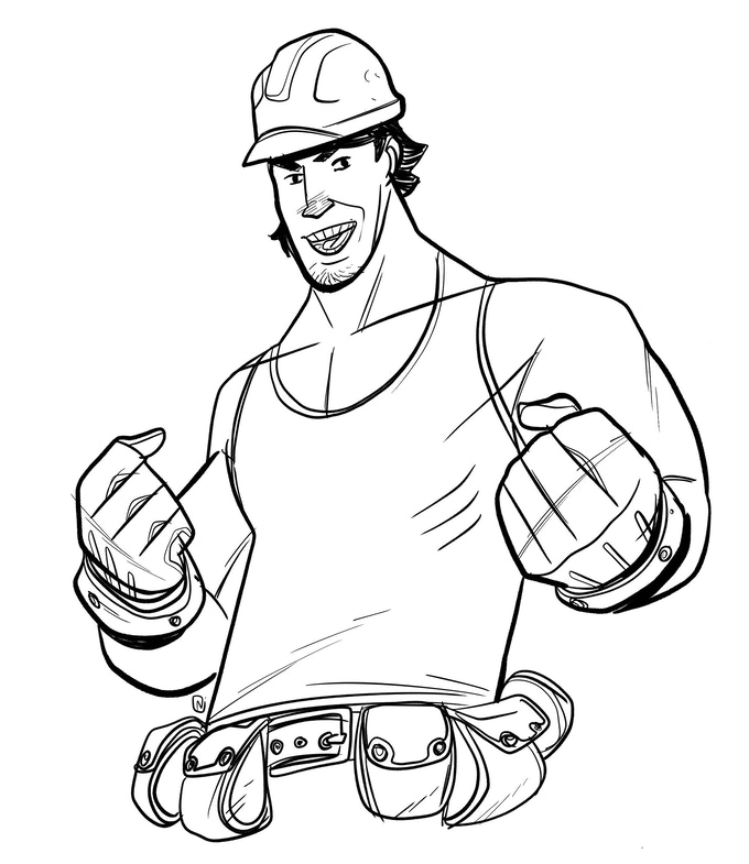sketch of you as a construction worker (or in this case, a sketch of me)