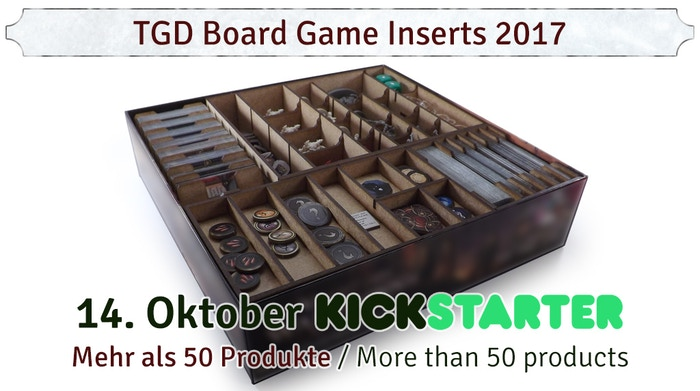 Custom board game inserts for quick setup, component protection and well-arranged storage. Made in Germany.