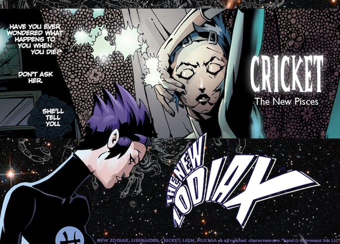 CRICKET. Paranormal psychologist. Horror tales with a sci-fi edge. First appearance: NEW ZODIAX #3