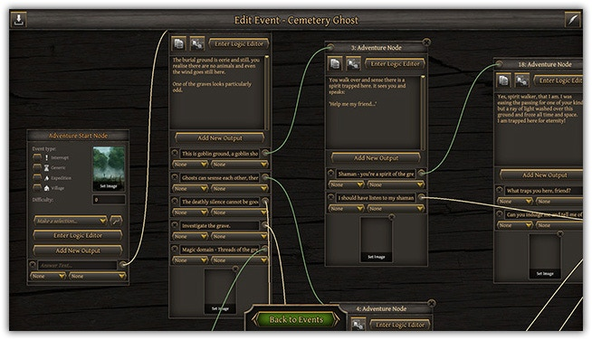 Editor (click to enlarge) The event's editor will be available to players from the start, so the stories need never end!