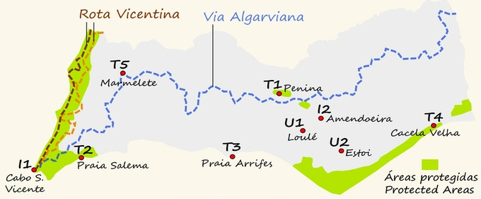 Mapa do Algarve (sul de Portugal) mostrando as várias caminhadas oferecidas pela GWT