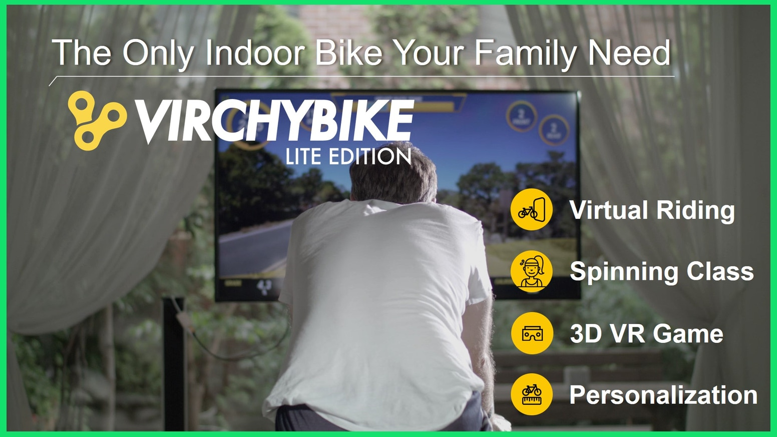 A revolutionary smart indoor bike with integrated virtual reality programs and a personalized workout management system.