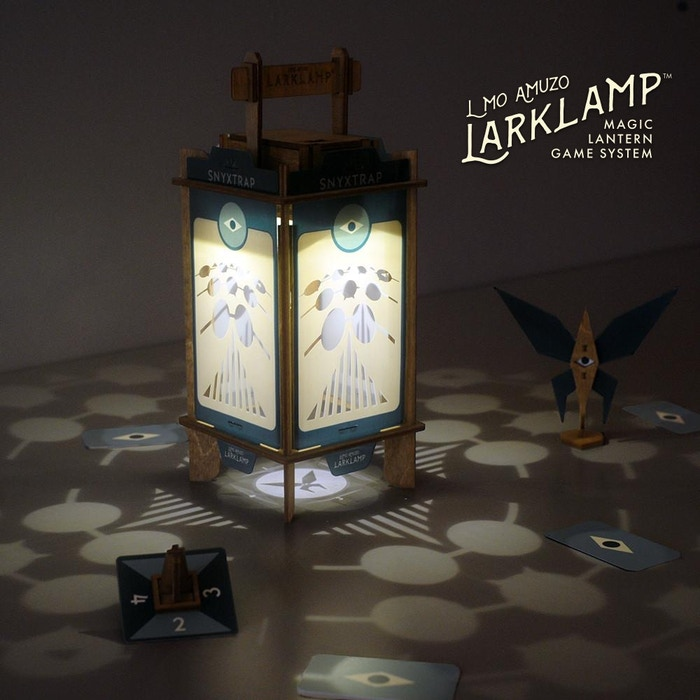 Play enchanting games of light and shadowwith the Larklamp – the world's first Magic Lantern Game system.