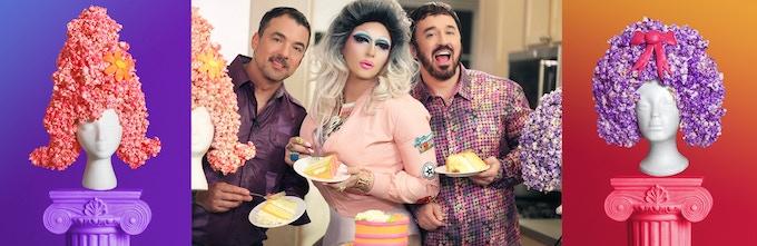 Marc Felion, Fox E. Kim and Fausto Fernós make some caramel popcorn wigs. Photo: Jeff Knutson.