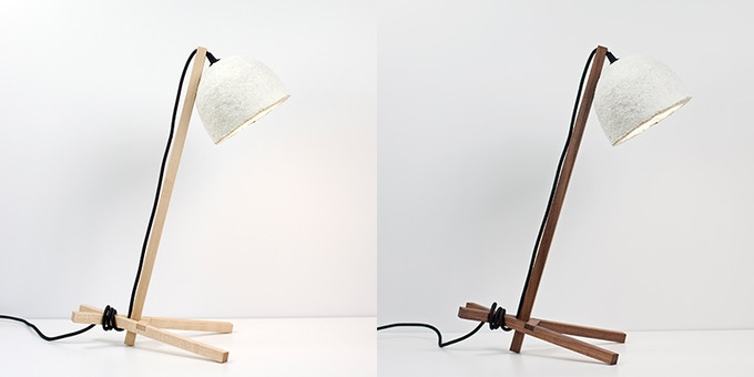 Table lamp in light ash and dark walnut