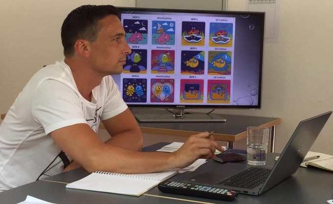 Marco during a Discovery Books meeting