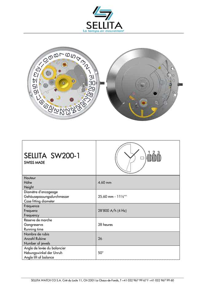 Mouvement automatique SW200-1 / Automatic movement SW200-1