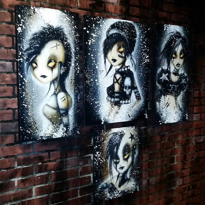 Some of my artwork hanging at @thirtysixblack in Orlando
