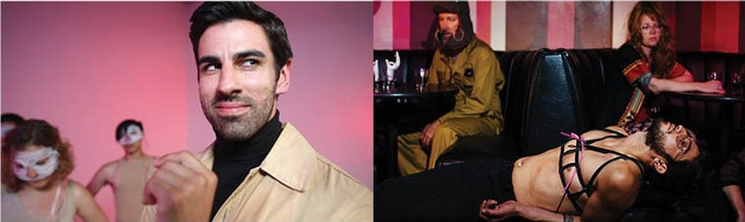 Left: Anosh McAdam as frustrated lab manager Schwartz; Right: Jesus Uribe as lead lab tech Jesus getting liberated at Lucky's