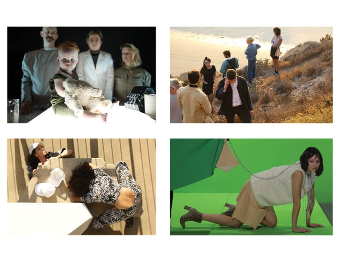 Clockwise from top left: Narrative Weapons Lab; crew gets lost; Pooch Bag Commercial Shoot; Brutalist Cult.