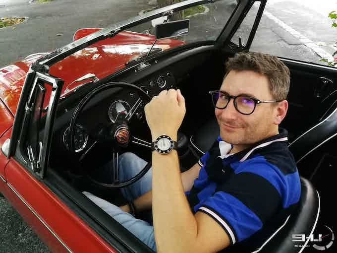 My friend Christophe in MG Midget car and with the Wilhelm Tell Watch