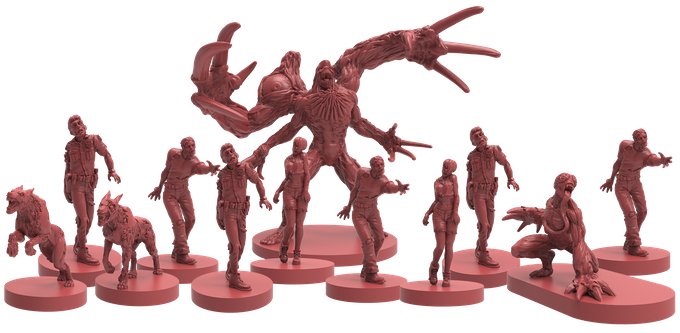 A swarm of zombies surrounding the 3rd Mutation of William Birkin