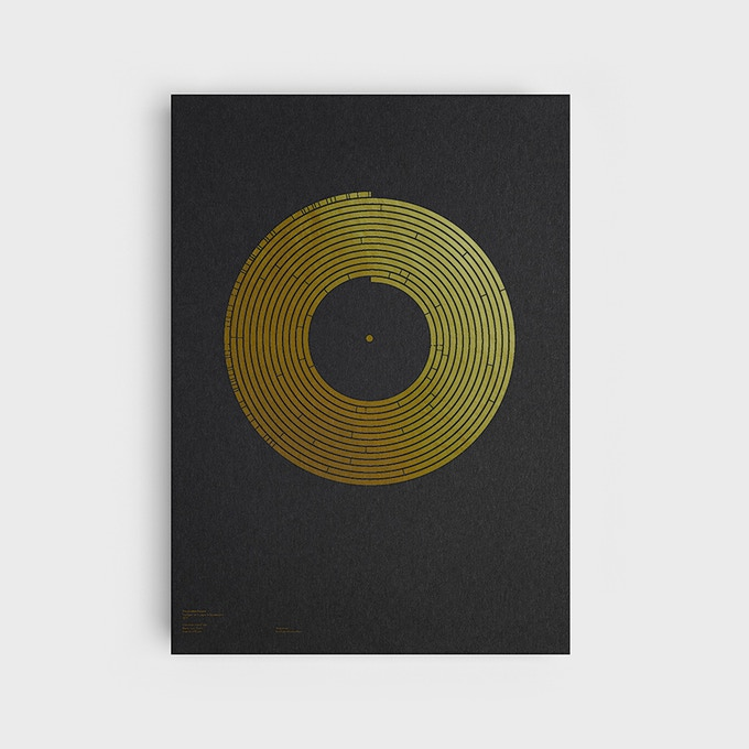 Silkscreen-printed spiral data visualistion of The Golden Record (Greetings from Earth, Music from Earth, Sounds of Earth)