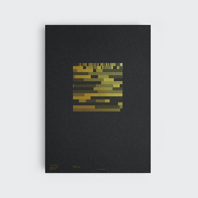 Silkscreen-printed square data visualistion of The Golden Record (Greetings from Earth, Music from Earth, Sounds of Earth)